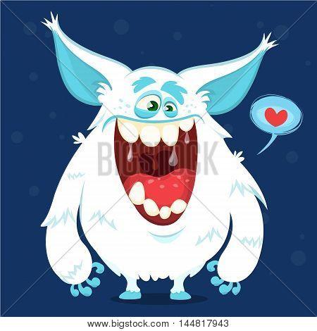 Cute cartoon monster yeti. Vector bigfoot character