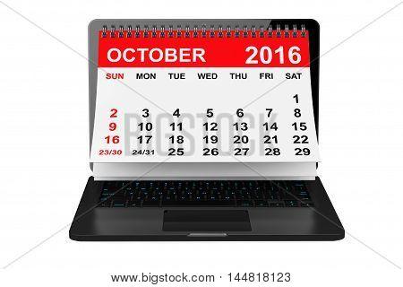 2016 year calendar. October calendar over laptop screen on a white background. 3d rendering