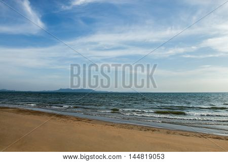 Empty sea and beach background with copy space.