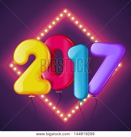 Merry Christmas and Happy New Year 2017 background, vector illustration. Bright and colorful greeting card, poster, banner, invitation design with numbers as balloons