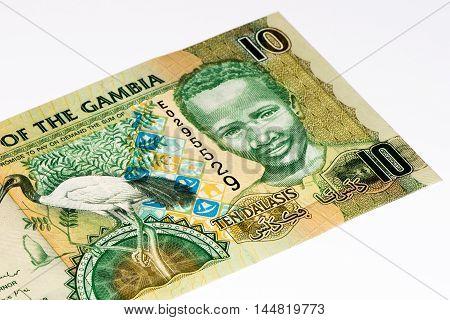 10 Gambian dalasi bank note. Gambian dalasi is the national currency of Gambia