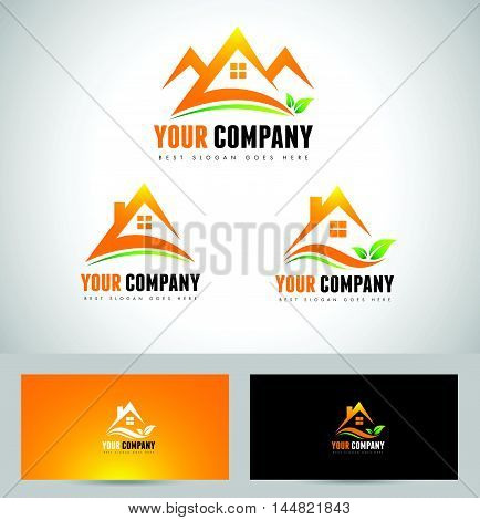 House Concept Real Estate logo. Abstract logo with orange house and leafs. Vector.
