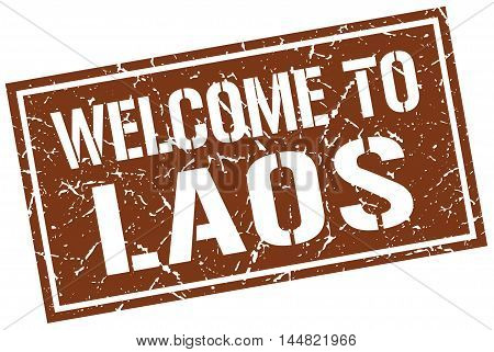 welcome to Laos. stamp. grunge square sign
