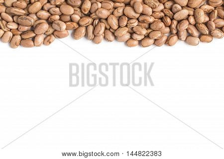 Raw Carioca Beans frame in white background