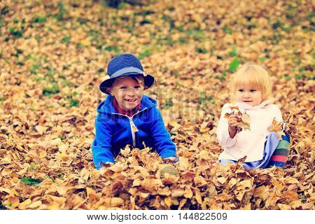 cute little boy and girl playing in autumn leaves