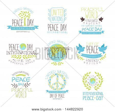 International Peace Day Set Of Label Designs In Pastel Colors. Vector Logo Templates With Text On White Background.