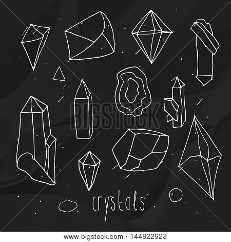 Geometric polygonal crystals in mono line hand draw style on a black textured background.