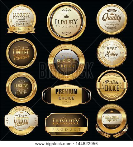 Premium And Luxury Golden Retro Badges And Labels Collection 2.eps