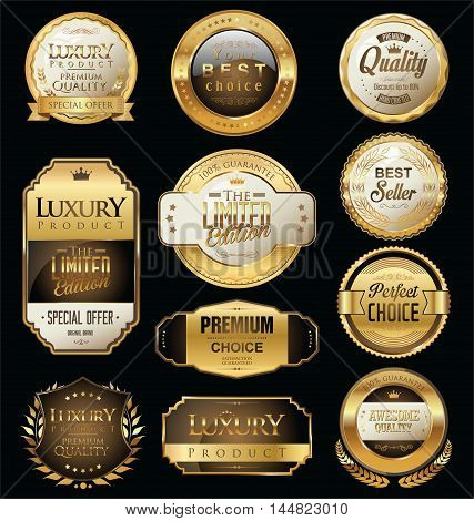 Premium And Luxury Golden Retro Badges And Labels Collection.eps