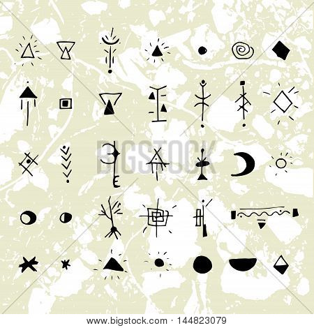 The mystical signs and symbols. Design elements. Hand drawing graphics with texture units in the background.