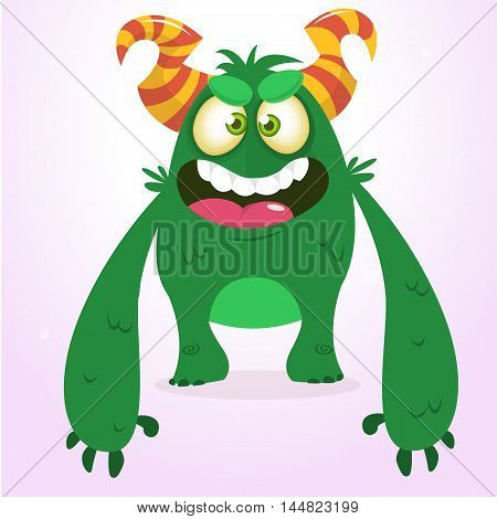 Happy green monster. Vector Halloween monster character smiling and waving. Vector solated on light background