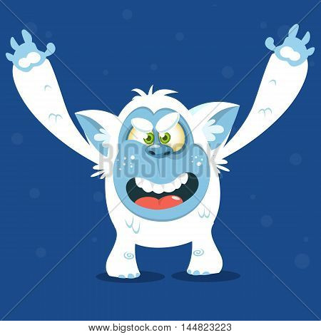 Angry cartoon monster yeti. Vector Halloween bigfoot character