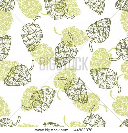 Hand drawn hops seamless pattern. Vector background with hop cones.