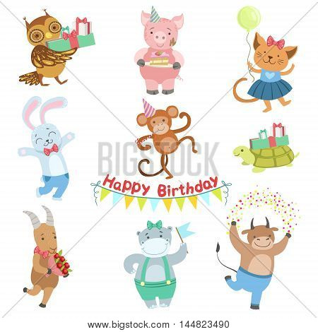 Cute Animal Characters Attending Birthday Party Celebration Set. Childish Cartoon Style Animals Dressed In Human Clothes Vector Stickers