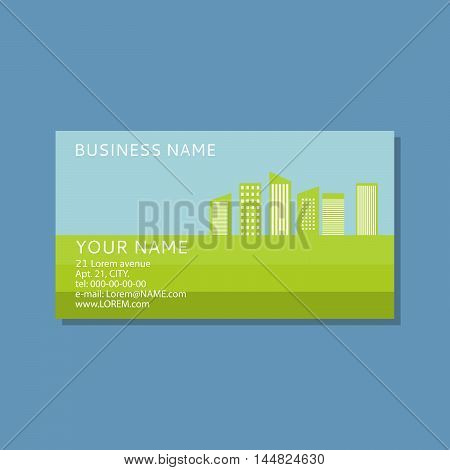 Vector the business card with an illustration of houses.Concept of the business card for the construction, bio, energy companies. For ecological firms.Green city.Pure city