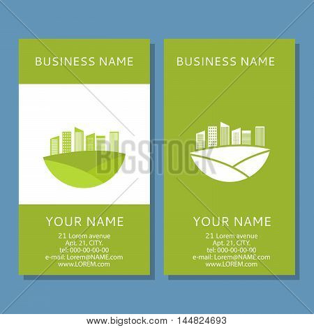 Set vector the vertical business card from an illustration of houses of green color.Concept of the business card for the construction, bio, energy companies. For ecological firms. Green city. Pure city