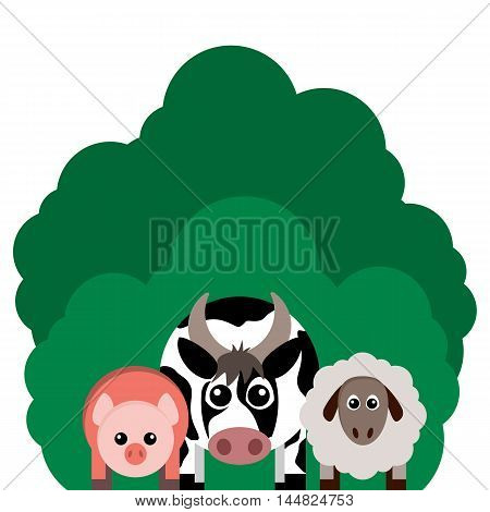Vector illustration of farm animals. Cow sheep pig.. Grouped for easy editing.