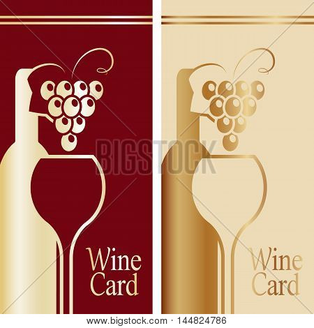 Cover for wine card. Gold and red. Grouped for easy editing. Perfect for labels for wine menu wine card and etc.