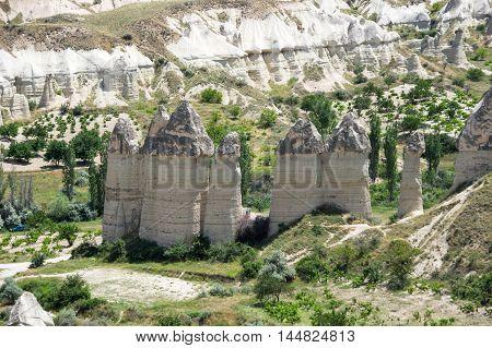 Stone formations in Love valley in Cappadocia Central AnatoliaTurkey