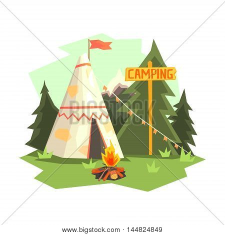 Camping Place With Bonfire, Wigwam And Forest. Cool Colorful Vector Illustration In Stylized Geometric Cartoon Design On White Background