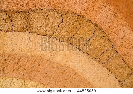 Layer of dry soil cracks natural texture and background