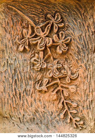 Stone carvings of flowers texture and background