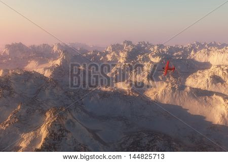 Single engine plane over snow mountains in morning mist