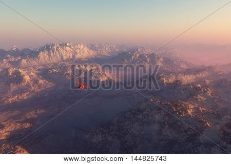 Misty Snow Mountains In Morning Mist With Airplane Flying Over