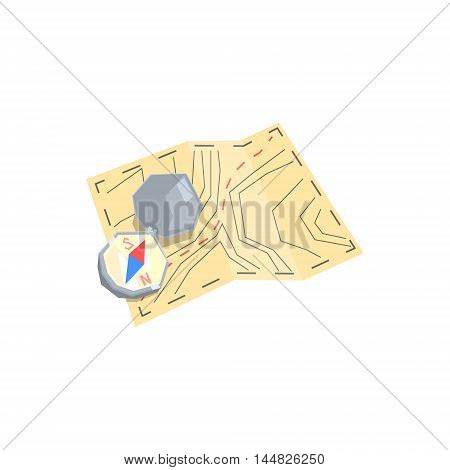 Paper Map And Compass Camping Orientation Kit. Cool Colorful Vector Illustration In Stylized Geometric Cartoon Design On White Background