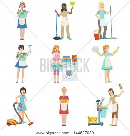 Hotel Professional Maids With Cleaning Equipment Set Of Illustrations. Cleaning Ladies Tiding Up With Special Inventory Simple Flat Vector Drawings.