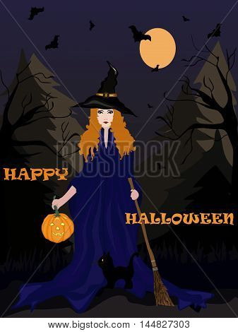 happy halloween card witch with pampkin and black cat in the dark forest. vector illustration