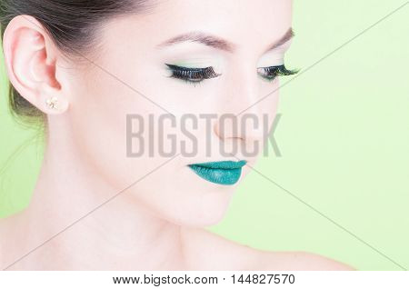 Close-up Of Woman Posing With Professional Green Trendy Make-up