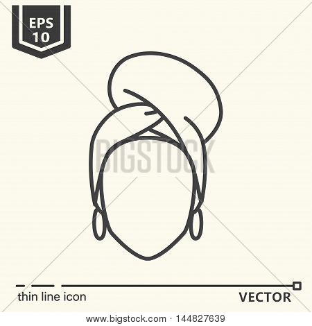Thin line icon - brazilian woman. EPS 10. Isolated object