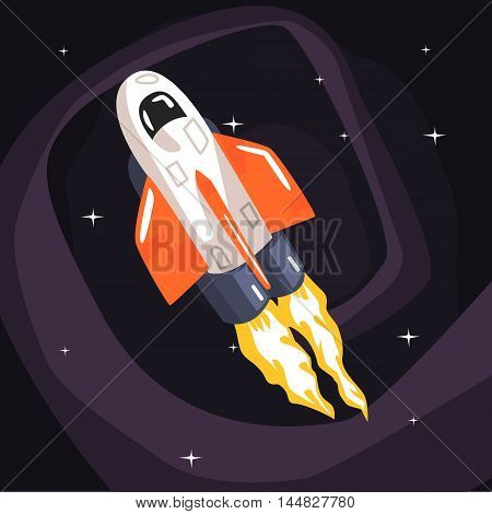 Flying Shuttle Spacecraft Fith Flames Coming From Engine On Dark Night Sky Background. Cool Colorful Cosmic Fantasy Vector Illustration In Stylized Geometric Cartoon Design