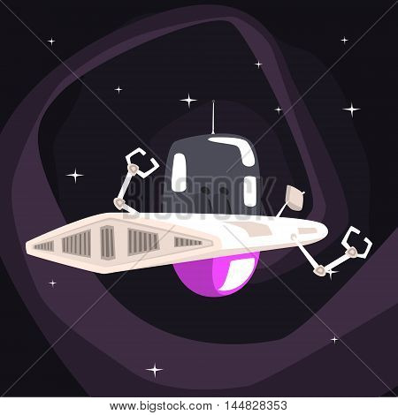 Alien Robotic UFO Spacecraft With Metal Arms On Dark Night Sky Background. Cool Colorful Cosmic Fantasy Vector Illustration In Stylized Geometric Cartoon Design