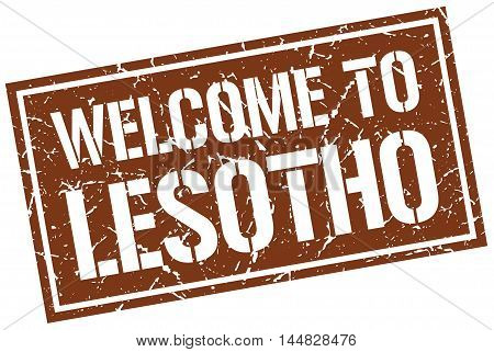 welcome to Lesotho. stamp. grunge square sign