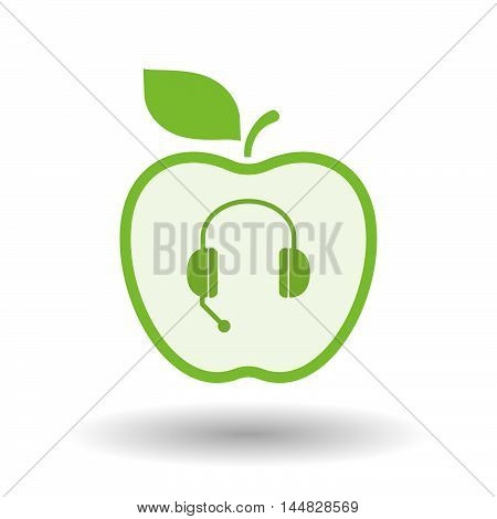 Isolated  Line Art  Apple Icon With  A Hands Free Phone Device