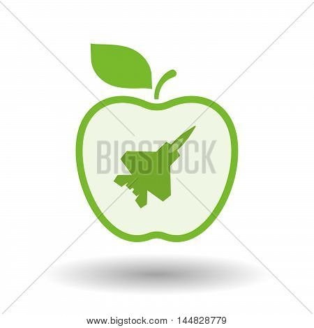 Isolated  Line Art  Apple Icon With A Combat Plane