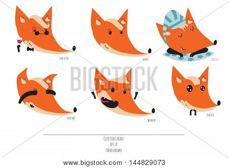 Cute vector set of playful foxes heads with various emotions. Sleepy woohoo hiding please like a sir Hand drawn cute illustration isolated on white background