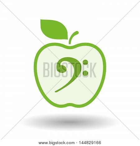 Isolated  Line Art  Apple Icon With An F Clef