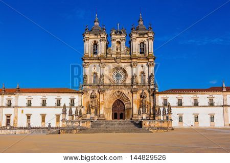 Main entrance to the cathedral in Alcobaca. Built in Baroque style. Portugal