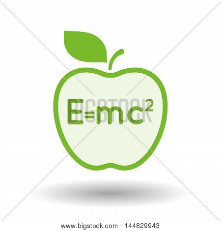 Isolated  Line Art  Apple Icon With The Theory Of Relativity Formula