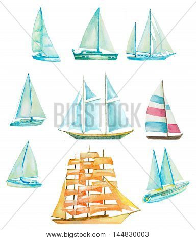 set of watercolor sailing boats yachts ships on white