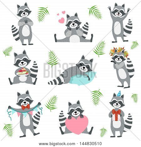 Cute Raccoon Character In Different Situations Set. Cartoon Humanized Animal Icons In Girly Style On Whight Background.