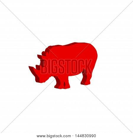 African rhinoceros. Vector illustration on white background