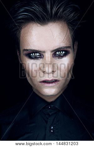 portrait of bad man jn a dark background