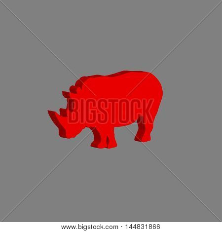 African rhinoceros. Vector illustration on gray background