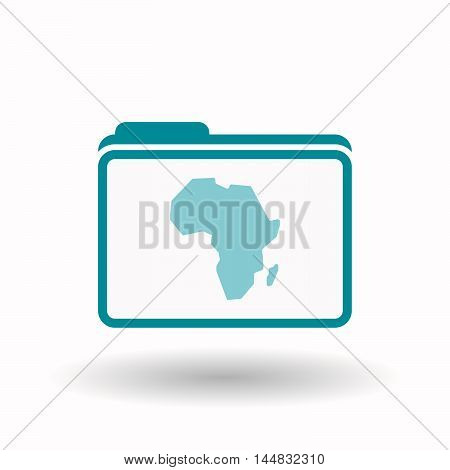 Isolated  Line Art Folder Icon With  A Map Of The African Continent