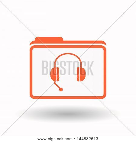 Isolated  Line Art Folder Icon With  A Hands Free Phone Device