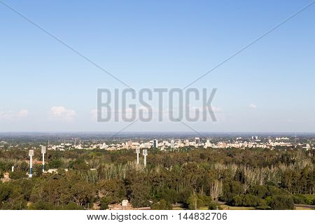 Mendoza, Argentina - November 22, 2015: Skyline of the Argentinian city Mendoza as seen from the Cerro De La Gloria